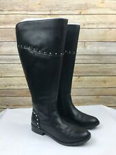 Marc Fisher Womens Wide Calf Studded Tall Shaft Boots Secalm Black Studded 7M