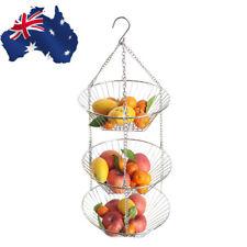 AU! 3 Tier Wire Hanging Basket Fruit Vegetable Organizer Storage Kitchen Counter