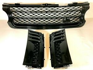 Supercharged Gloss Black Front Grille & Side Vents Range Rover L322 10-13 Vogue