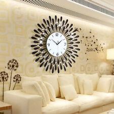 Luxury Metal Diamonds Flower Silent 3D Wall Clock For Office House Living Room