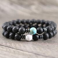 Charm Natural Turquoise Lava Onyx Howlite Reiki Stretch Oil Diffuser Bracelets