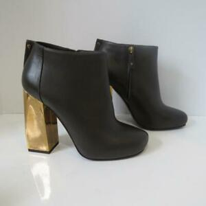 Lanvin Brown Leather Ankle Boots/Gold Heels/Shoes Size 39.5