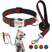 Reflective Personalized Dog Collar & Leash Set Custom ID Engraved Release Buckle