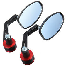 """7/8"""" Manubrio Bar End Mirrors Specchietti Specchi Retrovisori Universale Rosso"""