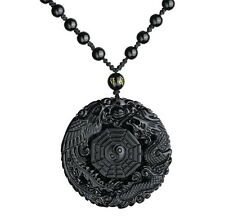 Natural Obsidian Carved Chinese Dragon Phoenix BaGua Lucky Pendant Necklace L