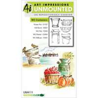 """Art Impressions Watercolor Cling Rubber Stamps 4""""X7"""" Containers 608729386377"""
