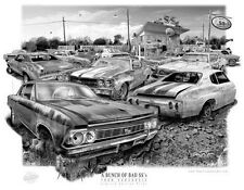 """CHEVELLE """"RUSTY RELICS"""" MUSCLE CAR AUTO ART PRINT   ** FREE USA SHIPPING *"""