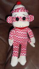 TY Beanie Baby - SOCKS the Sock Monkey (Pink & White Zig Zag) (8.5 inch) - MWMTs