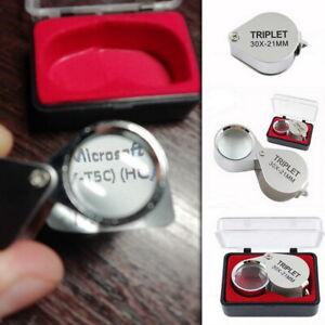 30X Small Folding Magnifier Glass Pocket Optical Magnifying Lens Mini Eye Loupe
