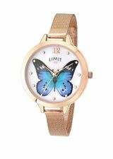 Ladies Limit Secret Garden Rose Gold Mesh Bracelet Watch Butterfly Dial 6271