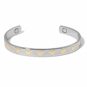 Magnetic HEART Engraved Cuff BRACELET in Silvertone with Goldtone Design 7.50 in