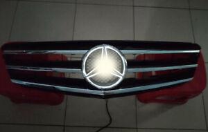 BLACK Grill For Mercedes-Benz C Class W204 Front + LED Emblem C300 C350 2008-14