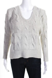 Aeve Womens Cashmere Chunky Cable Knit Long Sleeve V Neck Hoodie Gray Size Small