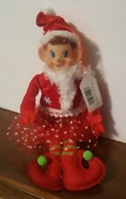 Christmas Pixie Elf Girl Knee Hugger Ornament Red Green Tutu Christmas Wreath