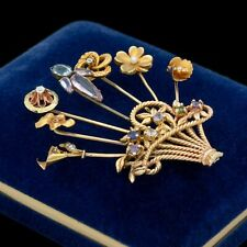 Antique Vintage Art Deco 14k Gold Diamond Sapphire Stick Pin Bouquet Pin Brooch