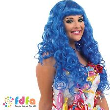 BLUE POP STAR CALIFORNIA CANDY GIRL SWEETIE WIG KATY PERRY - ladies fancy dress
