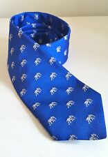 Mens Elephant Design Blue Silk Tie NEW