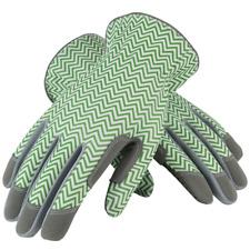 Mud Gloves Mud Zig Zag Style Green/White Gardening Gloves 031G Case of 6