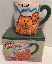 NEW IN BOX BREW HA HA TALKING / MEOW CAT KITTY COFFEE MUG FREE SHIPPING!