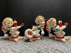 """Vintage TMJ Christmas Elf Pixie Figurine Spaghetti Trim Set of 3 Elves Candle 4"""""""