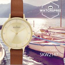 Skagen Anita Champagne Dial Brown Leather Ladies Watch SKW2147