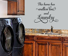 THIS HOME HAS ENDLESS LOVE AND LAUNDRY HOME DECOR VINYL WALL DECAL STICKER WORDS
