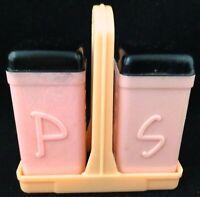 Vtg MCM Salt Pepper Set Pink Black Tops Caddy with Handle Superlon Chicago USA