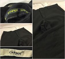 Bespoke Carrot Lido Pants 31x31 Black Super 120 Wool Flat Front Italy YGI 54gg
