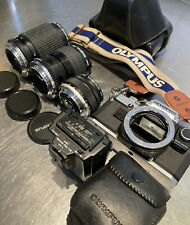 Olympus OM10 35mm SLR Film Camera with Lens Kit and Case