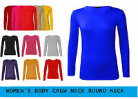 Womens Long Sleeve Stretch Plain Round Scoop Neck T Shirt Top 6-20 Round_Neck