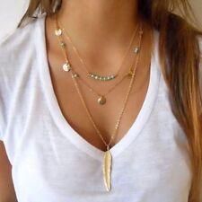 UK BOHO FEATHER BEAD CHARM MULTI LAYER NECKLACE Gold Turquoise Jewellery Gift