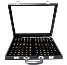 X-Large 144 Ring Black Glass Top with Handle Portable Sales Display Storage Case