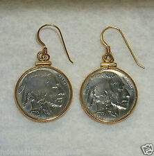 Coin Earrings Authentic Vintage INDIAN HEAD Nickels 14K Gold Filled Bezels Hooks