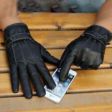 Men Black Winter Leather Motorcycle Full Finger Touch Screen Warm Gloves COOL AU