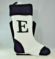 "Holiday Home - Monogrammed ""E""Black & White 16"" Christmas Stocking (New)"