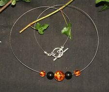 Modern Amber & Lignite Jet Witches Necklace - Wicca, witchcraft, Pagan
