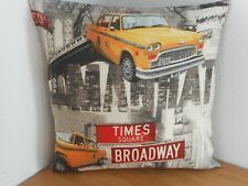 "NEW YORK LANDMARKS (1) CUSHION COVER 15""/38cm Yellow Cab, Street Signs, Bridge"