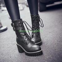 New Womens Punk Gothic Autumn Lace Up Cuban Heels Ankle Boots Platform Shoes Sz