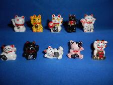 MANEKI-NEKO Chinese Beckoning Cats Set 10 Figurines FRENCH Porcelain FEVES LUCKY