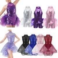 Kids Girls Sequins Leotard Dress Latin Ballet Lyrical Dance Skirt Fancy Costume
