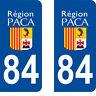 Département 84 sticker 2 autocollants style immatriculation AUTO PLAQUE