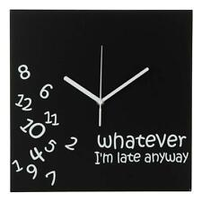 Whatever I'm Late Anyway | Battery Operated Unique Wall Clock-for Black