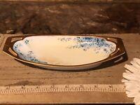 """Antique Vintage Porcelain Oval Dish Blue & White Floral Gold trim 8""""x3 1/2"""""""