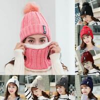 2pcs/Set Women Snow Beanie PomPom Hat Thick Warm Soft Cable Scarf Winter Knit US