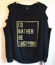 Material Girl NEW Black Gold I'd Rather Be Shopping Top Slashed Sleeve Medium M