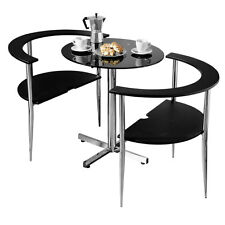 Love Dining Table Chairs Set Black Tempered Glass Table Top Chrome Finish Frame