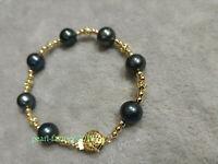 "AAA 11-10mm natural South Sea black round pearl bracelet 7.5"" 14k gold bracelet"