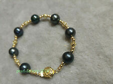 """Stunning AAA 11-10mm natural South Sea black round pearl bracelet 7.5"""" 14k"""