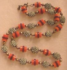 J Crew Rhinestone Beads & Plastic Coral/Magenta Necklace Flashy Rhinestones & Ba