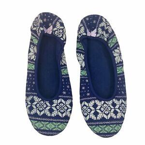 NWOT Victoria's Secret Ballet Flat Slipper Large Blue Winter Foam Soft Fair Isle